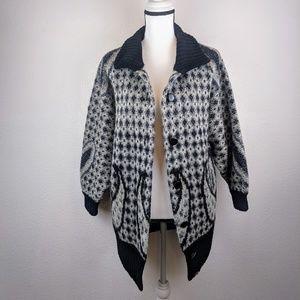 Vintage Oversized Boho Geometric Knit Cardigan